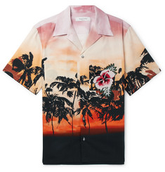 Valentino Camp-Collar Embellished Printed Cotton-Poplin Shirt