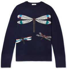 Valentino Slim-Fit Dragonfly-Intarsia Virgin Wool and Cashmere-Blend Sweater