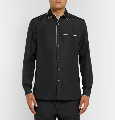 Piped Silk Shirt by Valentino