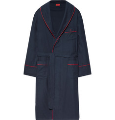 Isaia Piped Cotton and Cashmere-Blend Twill Robe