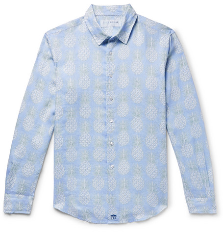PINK HOUSE MUSTIQUE Pineapple-Print Linen Shirt - Sky Blue