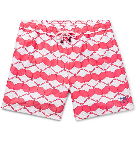 PINK HOUSE MUSTIQUE Mid-Length Printed Swim Shorts - Red