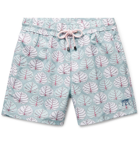 PINK HOUSE MUSTIQUE Mid-Length Printed Swim Shorts - Blue