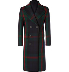 Burberry Double-Breasted Tartan Wool Coat