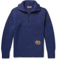Burberry Logo-Embroidered Wool-Blend Half-Zip Sweater