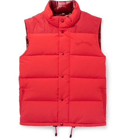Burberry – Slim-fit Logo-embroidered Quilted Nylon Down Gilet – Red