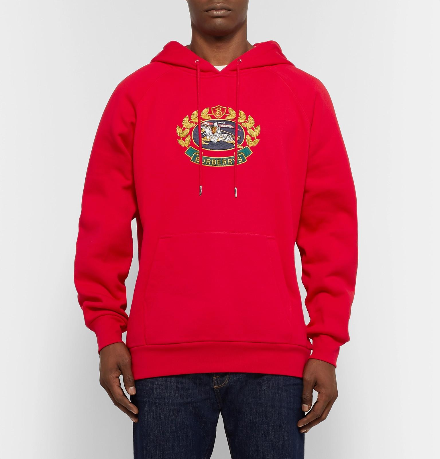 ca3f7dddcf6b Burberry - Logo-Embroidered Fleece-back Cotton-Blend Jersey Hoodie