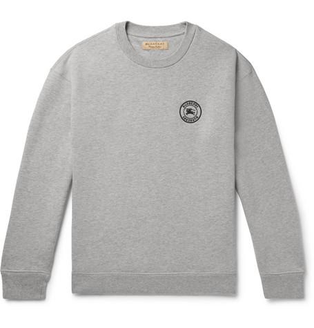 embroidered Gray back blend Burberry Jersey Sweatshirt Cotton Fleece Logo Z1vPx