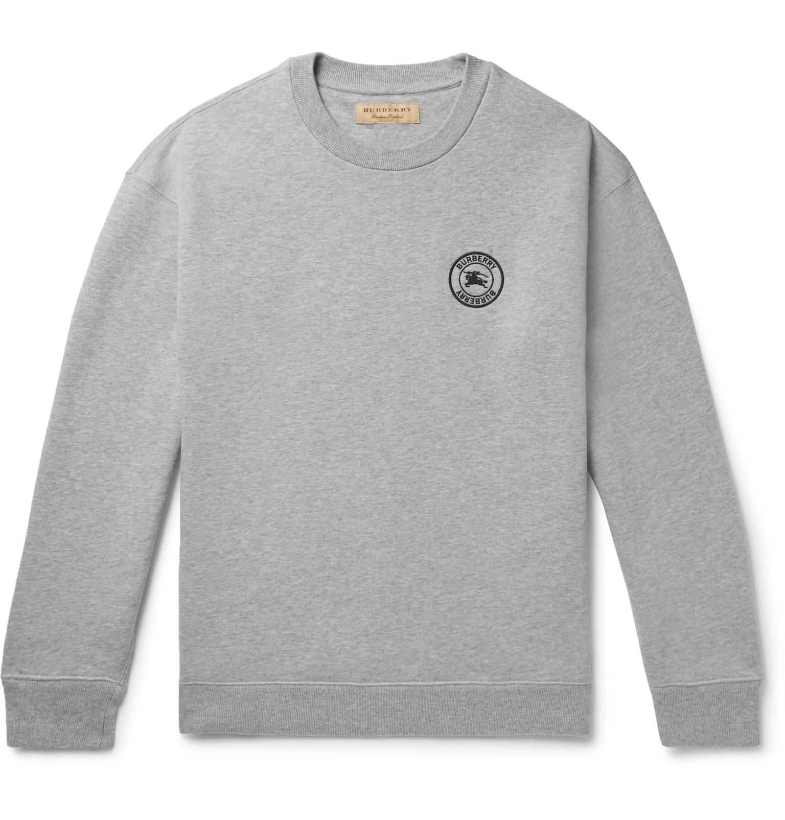 d794d3f27701 Burberry - Logo-Embroidered Fleece-back Cotton-Blend Jersey Sweatshirt