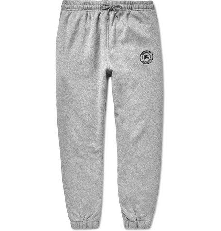 Embroidered Mélange Fleece Back Cotton Blend Jersey Sweatpants by Burberry