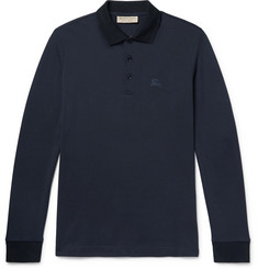 Burberry Embroidered Cotton-Piqué Polo Shirt