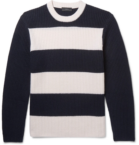 Striped Ribbed Cashmere Sweater - Navy