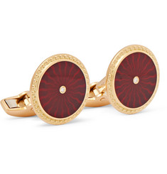 Deakin & Francis Enamelled 18-Karat Gold Diamond Cufflinks
