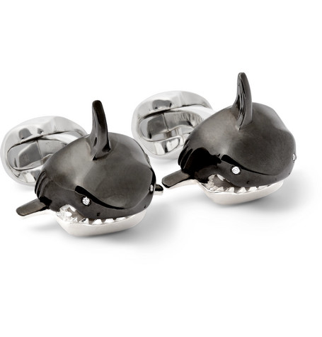 deakin francis male shark sterling silver enamel and diamond cufflinks