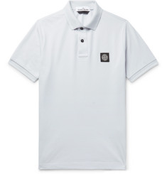 Stone Island Slim-Fit Logo-Appliqué Stretch-Cotton Piqué Polo Shirt