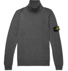 Stone Island Mélange Slim-Fit Wool Rollneck Sweater
