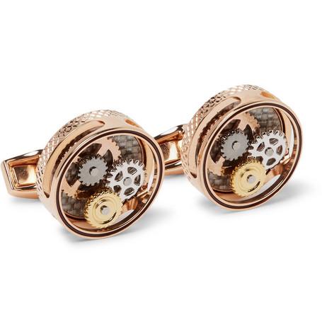 Gear Rose Gold Plated Cufflinks by Tateossian