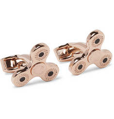 TATEOSSIAN - Triptych Enamelled Rose Gold-Plated Cufflinks