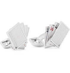 TATEOSSIAN - Playing Cards Enamelled Rhodium-Plated Cufflinks