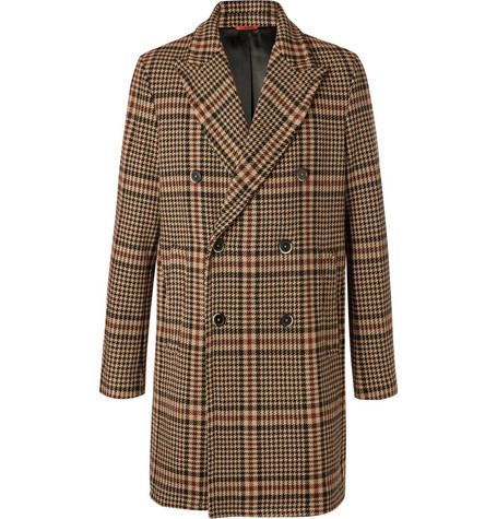 Double Breasted Prince Of Wales Checked Virgin Wool Blend Coat by Barena