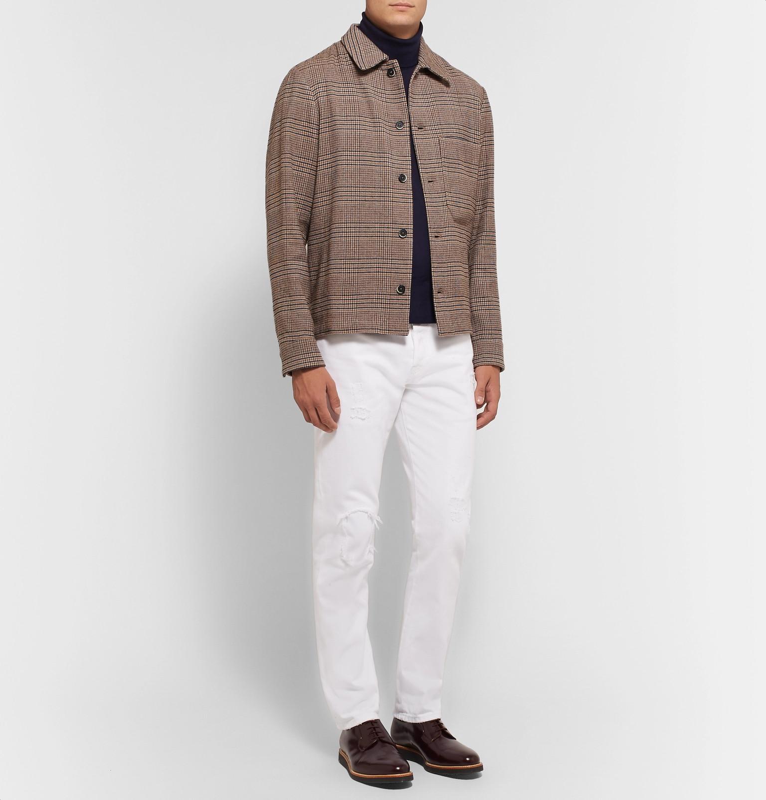 Shirt Jacket Blend Barenachecked Linen Barenachecked Linen xf8qH8