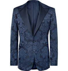 Ralph Lauren Purple Label Navy Gregory Slim-Fit Cotton and Silk-Blend Jacquard Tuxedo Jacket