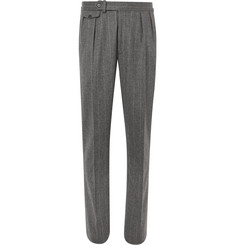 Ralph Lauren Purple Label - Grey Gregory Pleated Pinstriped Wool Suit Trousers