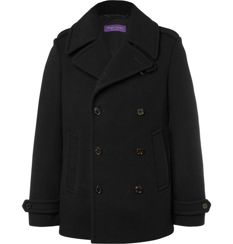 Ralph Lauren Purple Label – Warrington Slim-fit Double-breasted Wool And Cashmere-blend Peacoat – Black