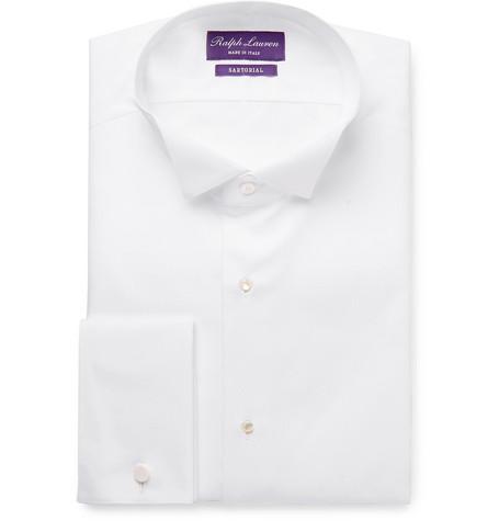 White Wing-collar Bib-front Double-cuff Cotton Tuxedo Shirt