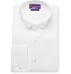 Ralph Lauren Purple Label White Wing-Collar Bib-Front Double-Cuff Cotton Tuxedo Shirt