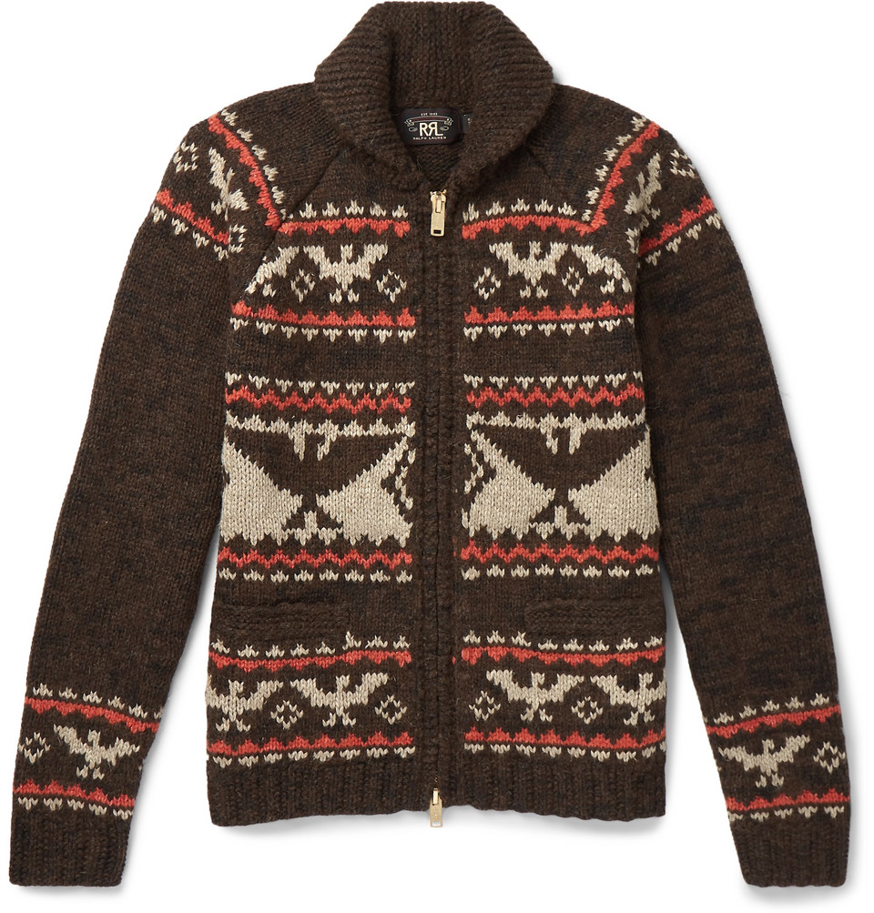 Intarsia Wool, Cotton, Alpaca, Silk And Linen-blend Zip-up Cardigan - Brown