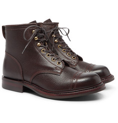 RRL Bowery Pebble-Grain Leather Boots