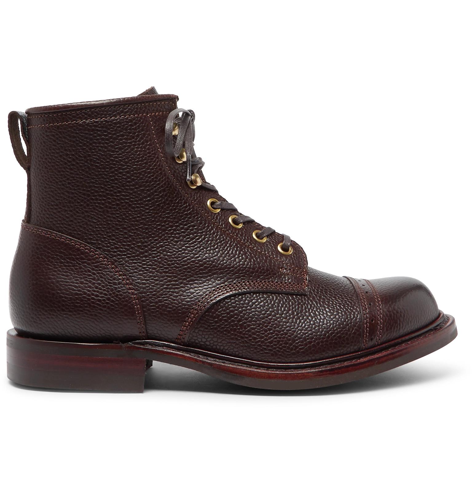 0aa9bbf48c7 RRL - Bowery Pebble-Grain Leather Boots