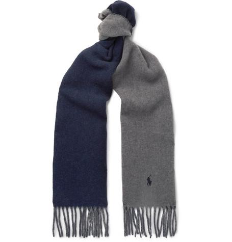 Reversible Fringed Virgin Wool-blend Scarf