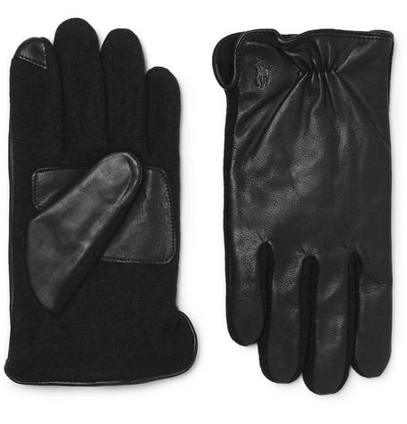 Polo Ralph Lauren – Touchscreen Leather And Flannel Gloves – Black