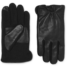 폴로 랄프로렌 터치스크린 가죽 장갑 블랙 Polo Ralph Lauren Touchscreen Leather and Flannel Gloves,Black
