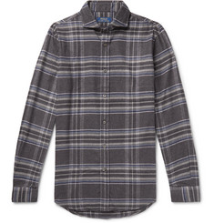 폴로 랄프로렌 셔츠 Polo Ralph Lauren Cutaway-Collar Checked Wool-Flannel Shirt,Gray