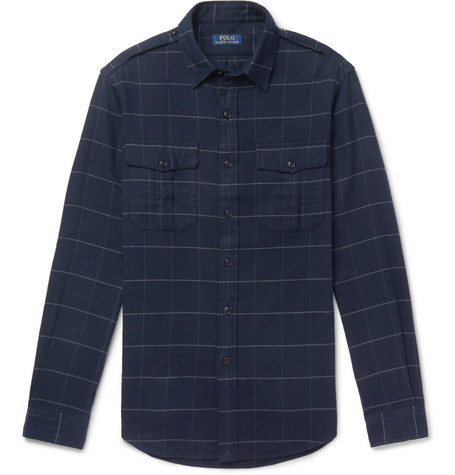 Checked Brushed Cotton-flannel Overshirt