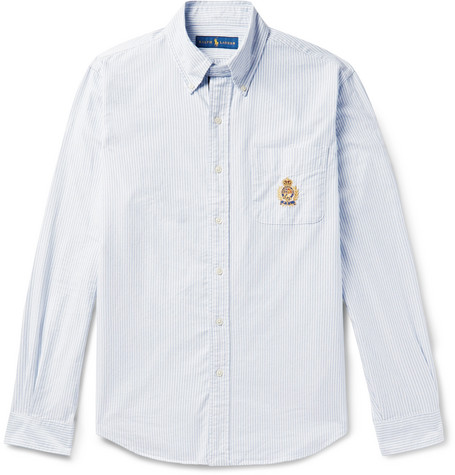 9dab0b55 Polo Ralph LaurenButton-Down Collar Embroidered Striped Cotton Oxford Shirt