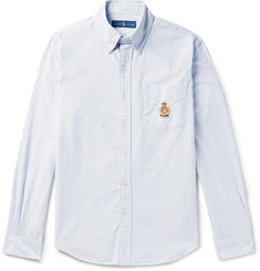 Polo Ralph Lauren Button-Down Collar Embroidered Striped Cotton Oxford Shirt