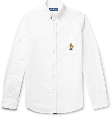 Button-down Collar Embroidered Cotton Oxford Shirt