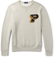 Polo Ralph Lauren Appliquéd Mélange Fleece-Back Cotton-Blend Jersey Sweatshirt