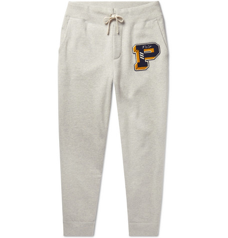 94e255b03 Polo Ralph LaurenTapered Logo-Appliquéd Mélange Fleece-Back Cotton-Blend  Jersey Sweatpants