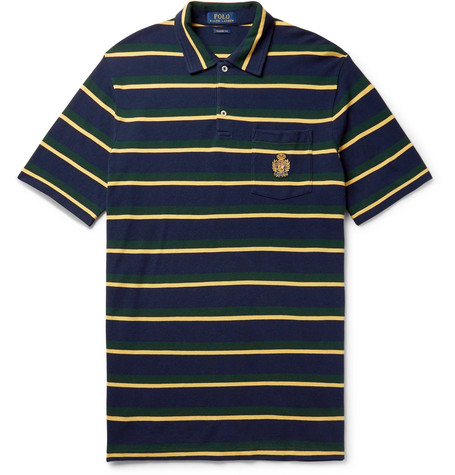 Logo Embroidered Striped Cotton Piqué Polo Shirt by Polo Ralph Lauren