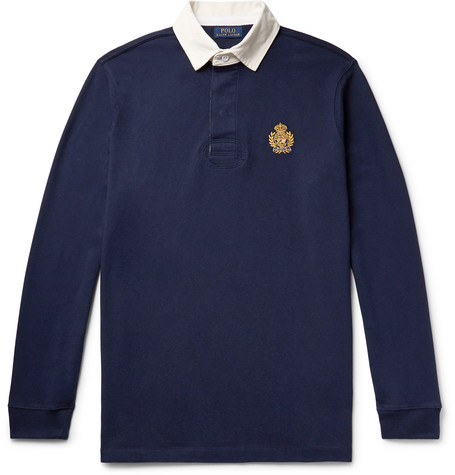 Logo-embroidered Twill-trimmed Cotton-jersey Polo Shirt