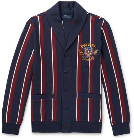 92924c8da9a55 Polo Ralph LaurenShawl-Collar Embroidered Striped Cotton-Blend Jersey  Cardigan