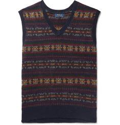 폴로 랄프로렌 Polo Ralph Lauren Fair Isle Wool-Blend Jacquard Sweater Vest,Navy