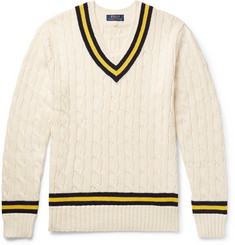 Polo Ralph Lauren Striped Cable-Knit Cotton and Cashmere-Blend Sweater