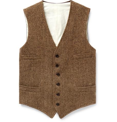 Tan Herringbone Wool And Satin Waistcoat by Polo Ralph Lauren