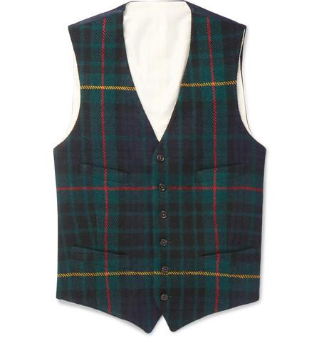 Polo Ralph Lauren Slim-fit Checked Wool Waistcoat In Navy